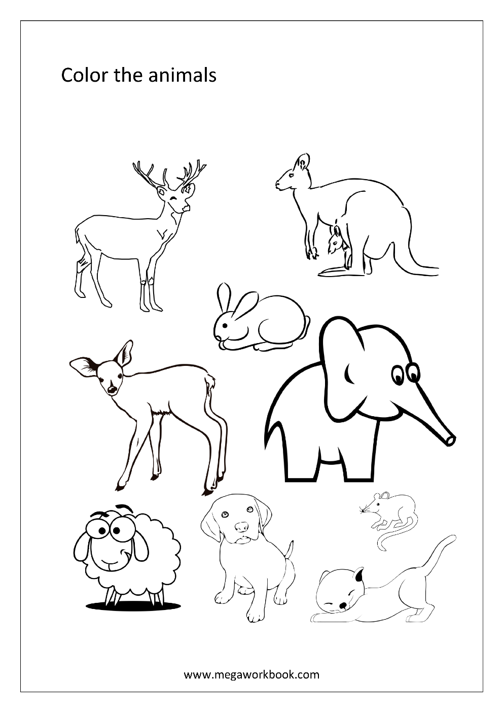 Free Coloring Sheets Animals Water Creaturs Insects and Birds