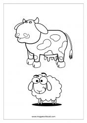 Coloring Sheet - Cow and Sheep