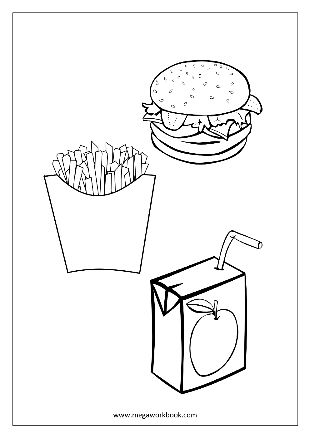 french fries coloring pages - photo#21