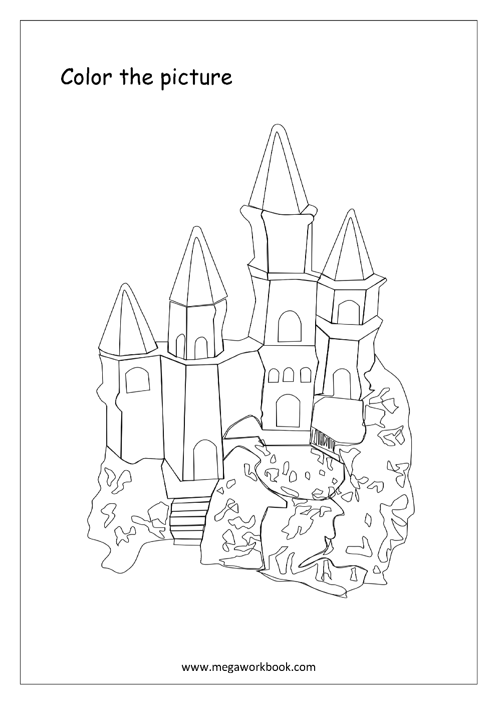 Coloring_Sheet_Castle_1 Math Worksheets Counting Numbers on objects up 10,