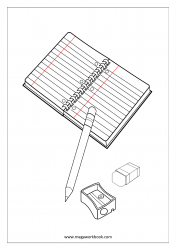 Coloring Sheet - Stationary (Notebook, Pencil, Eraser, Sharpener