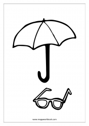 Coloring Sheet - Umbrella And Sunglasses