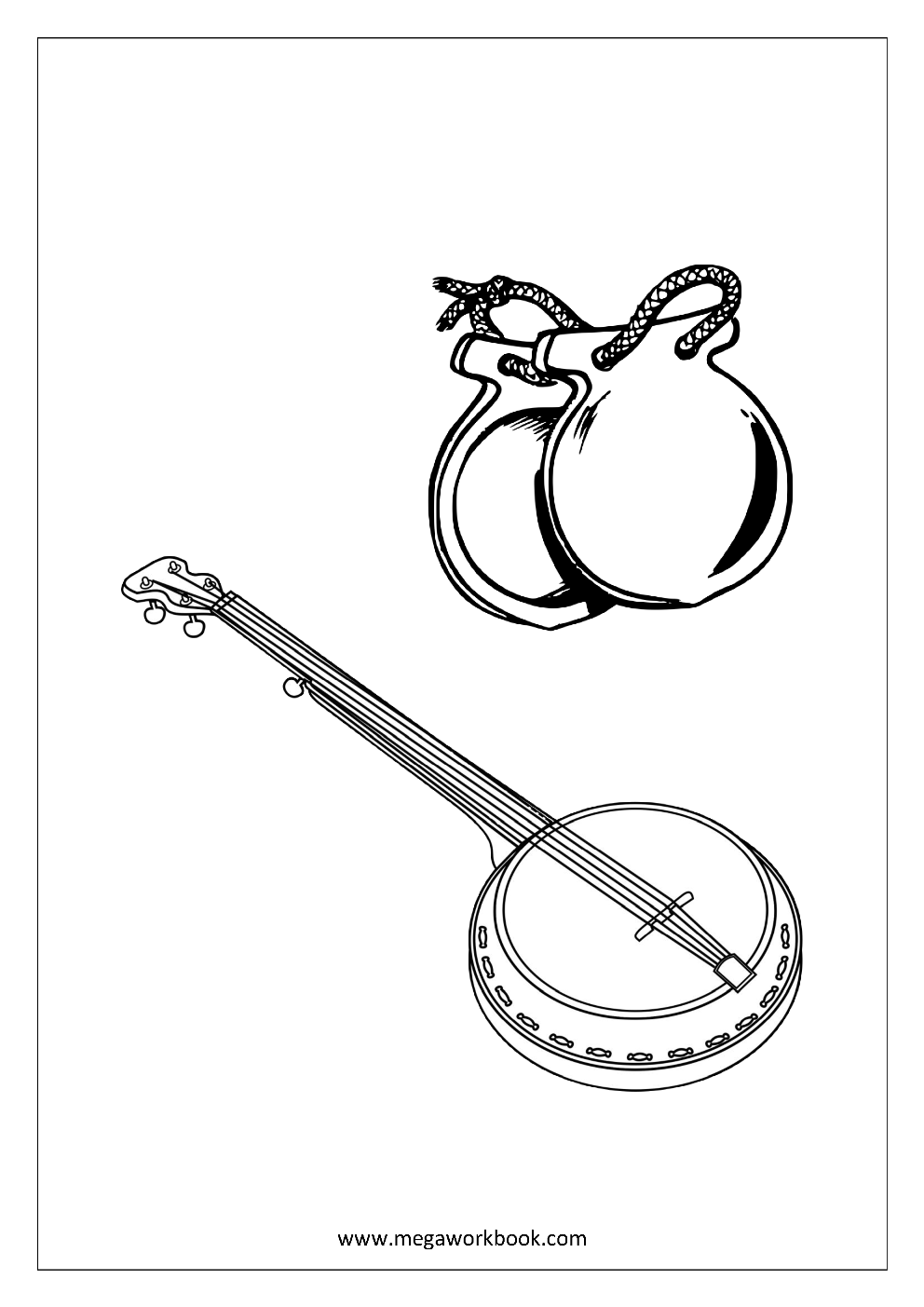 Free coloring pages instruments - Coloring Sheet Musical Instruments Banjo And Castanet