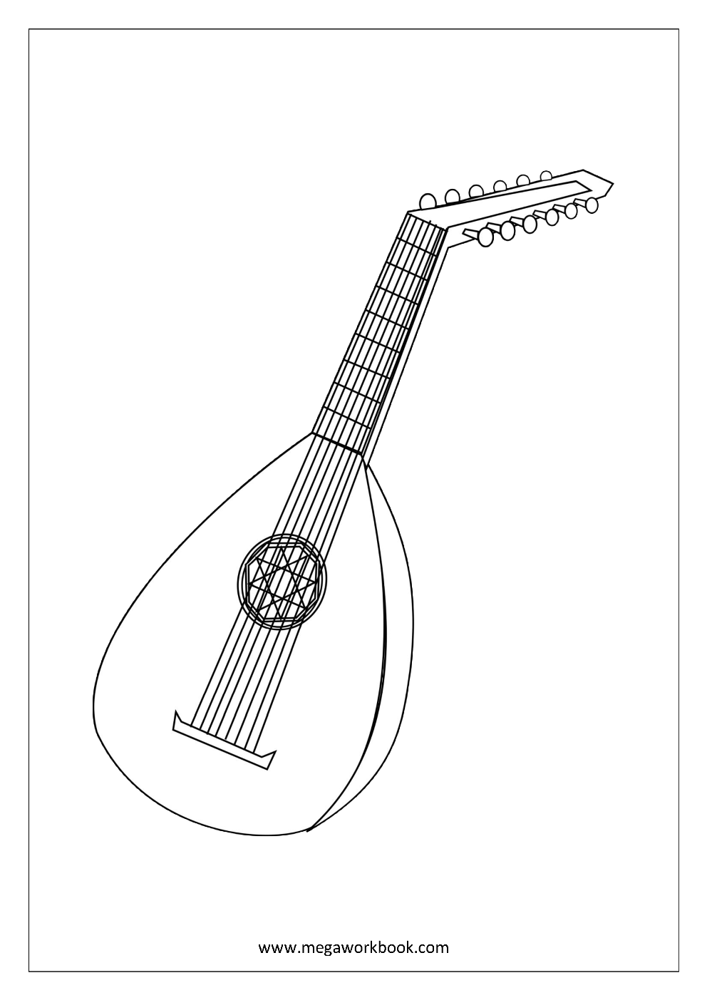 coloring sheet musical instruments mandolin