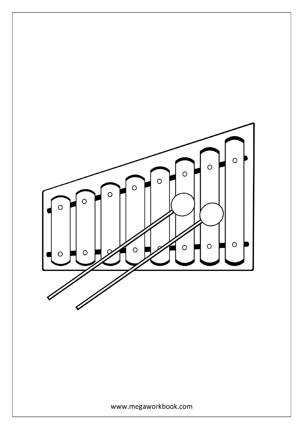 Coloring pages xylophone -  Coloring Sheet Musical Instruments Xylophone