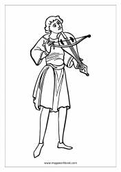 Coloring Sheet - Minstrel Playing Violin