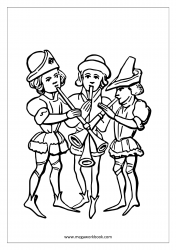 Coloring Sheet - Minstrels Playing Musical Instruments
