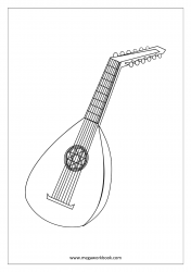 Coloring Sheet - Musical Instruments (Mandolin)
