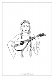 Coloring Sheet - Woman Playing Lute