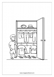 Coloring Sheet - Boy Choosing Clothes From Wardrobe