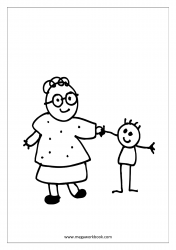Coloring Sheet - Mother And Kid