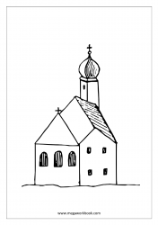 Coloring Sheet - Christmas - Church