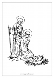 Coloring Sheet - Christmas - Mother Merry With Baby Jesus