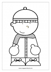 Christmas Coloring Pages - Christmas Coloring Sheets - Boy (Winter)