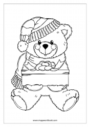 Coloring Sheet - Christmas - Teddy With Gift