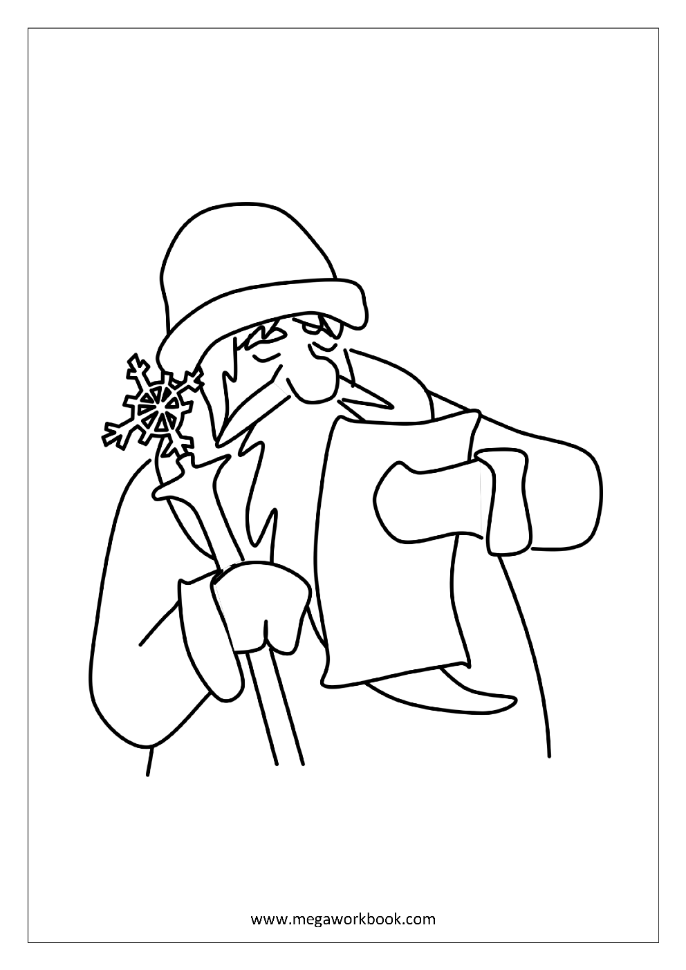 free printable coloring sheet christmas coloring pages santa claus with wishlist