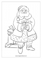 Christmas Coloring Pages - Free Printable Christmas Coloring Sheet- Santa Claus With Gifts