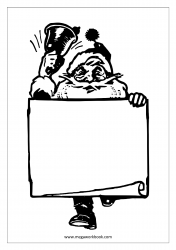 Coloring Sheet - Christmas - Santa With Wishlist