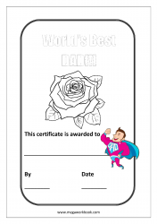 Father's Day Coloring Pages - Best Dad's Award - Best Dad Certificate