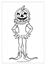 Free Printable Halloween Coloring Pages-Halloween Coloring Sheets-Halloween Pictures to Color-Pumpkin Boy