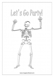Free Printable Halloween Coloring Pages-Halloween Coloring Sheets-Halloween Pictures to Color-Skeleton