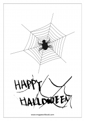 Free Printable Halloween Coloring Pages-Halloween Coloring Sheets-Halloween Pictures to Color-Spider Web