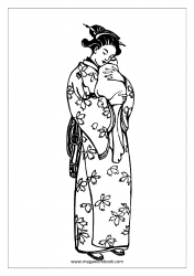 Coloring Sheet - Mother's Day - Japanese Mom With Baby