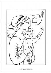 Coloring Sheet - Mother's Day - Mom With Child