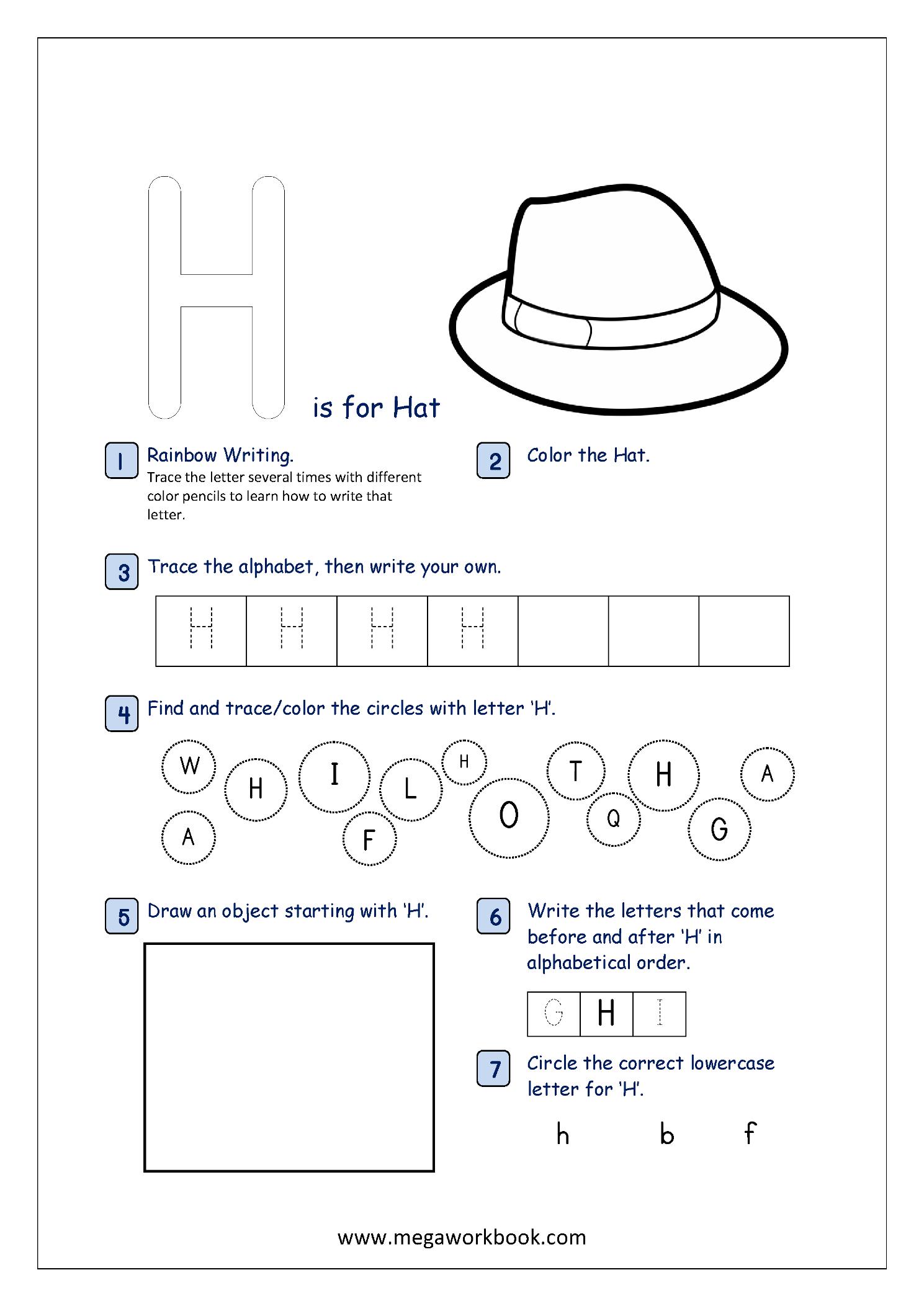b52ed861415 ... Alphabet Recognition Activity Worksheet - Capital Letter - H For Hat ...