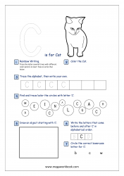Alphabet Recognition Activity Worksheet - Capital Letter -  C For Cat