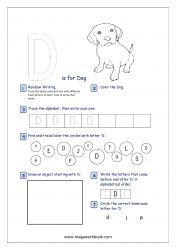 Alphabet Recognition Activity Worksheet - Capital Letter -  D For Dog