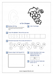 Alphabet Recognition Activity Worksheet - Capital Letter -  G For Grapes