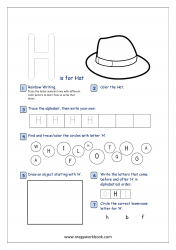 Alphabet Recognition Activity Worksheet - Capital Letter -  H For Hat