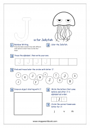 Alphabet Recognition Activity Worksheet - Capital Letter -  J For Jellyfish