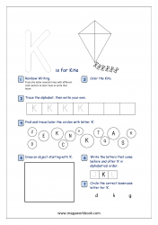 Alphabet Recognition Activity Worksheet - Capital Letter -  K For Kite