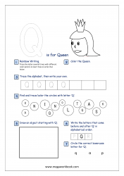 Alphabet Recognition Activity Worksheet - Capital Letter -  Q For Queen
