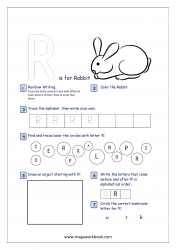 Alphabet Recognition Activity Worksheet - Capital Letter -  R For Rabbit