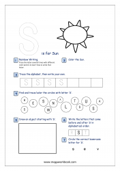 Alphabet Recognition Activity Worksheet - Capital Letter -  S For Sun