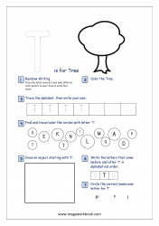 Alphabet Recognition Activity Worksheet - Capital Letter -  T For Tree