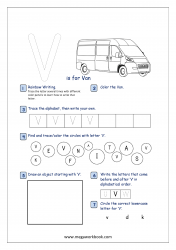 Alphabet Recognition Activity Worksheet - Capital Letter -  V For Van