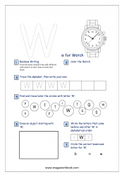 Alphabet Recognition Activity Worksheet - Capital Letter -  W For Watch