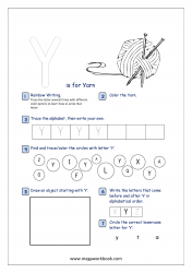 Alphabet Recognition Activity Worksheet - Capital Letter -  Y For Yarn
