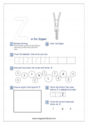 Alphabet Recognition Activity Worksheet - Capital Letter -  Z For Zipper