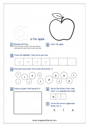 Lowercase Alphabet Recognition Activity Worksheet - Small Letter - a for apple
