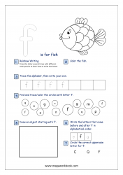 Lowercase Alphabet Recognition Activity Worksheet - Small Letter - f for fish