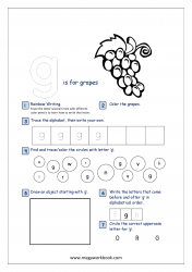 Lowercase Alphabet Recognition Activity Worksheet - Small Letter - g for grapes