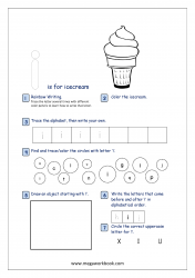 Lowercase Alphabet Recognition Activity Worksheet - Small Letter - i for icecream