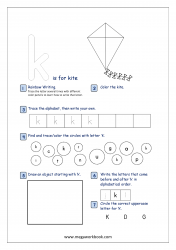 Lowercase Alphabet Recognition Activity Worksheet - Small Letter - k for kite