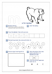 Lowercase Alphabet Recognition Activity Worksheet - Small Letter - m for monkey