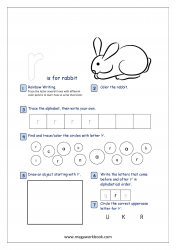 Lowercase Alphabet Recognition Activity Worksheet - Small Letter - r for rabbit
